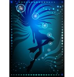 girl in flippers against dark ocean background vs vector image