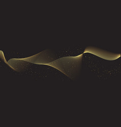 Glittering flowing gold lines vector