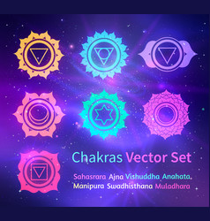 Glowing chakras on space background vector