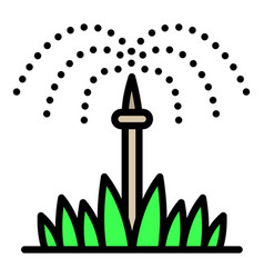 Grass irrigation icon outline style vector