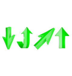 green arrows set 3d up and down web icons vector image