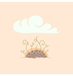 Green sprouts in soil under sky sunrise vector image