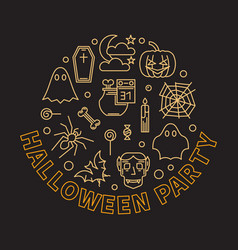 halloween party round outline modern vector image