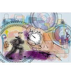 hand and stopwatch vector image
