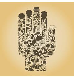 Hand food vector image vector image