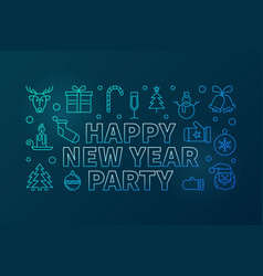 happy new year party blue line horizontal vector image