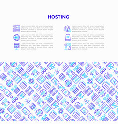 hosting concept with thin line icons vps vector image