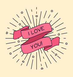 I love you greeting card with ribbon and vintage vector