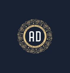 Initial ad antique retro luxury victorian vector