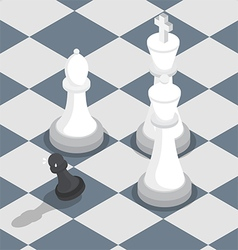 Isometric black pawn surrounded by white king vector