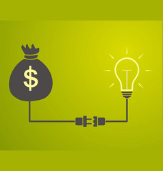 Lamp is connected to a bag with money vector