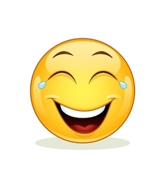 Laughing emoticon with tears of joy vector image