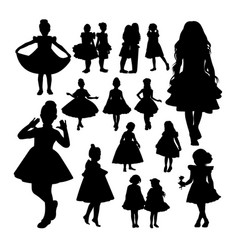 Little girl silhouettes vector