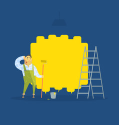male painter painting wall with brush vector image