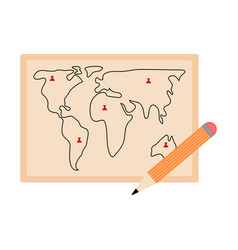Map with a pencil icon vector
