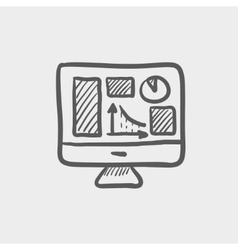 Monitor with business graph sketch icon vector