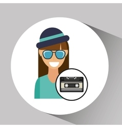 Music cassette girl hipster vintage background vector