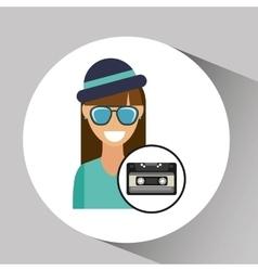 music cassette girl hipster vintage background vector image