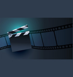 open clapper board with film strip background vector image