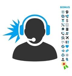 Operator Signal Flat Icon with Bonus vector image vector image