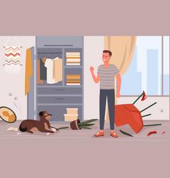 People scold dog pet behavior problem vector