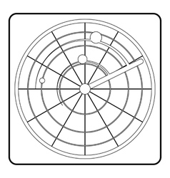 Radar icon outline style vector