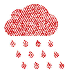 Rain cloud fabric textured icon vector