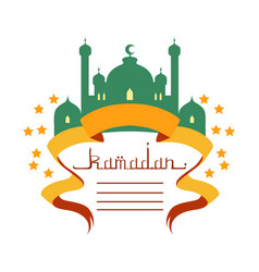 Ramadan greeting card with mosque and calligraphy vector