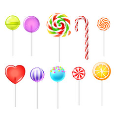 realistic lollipops color sweets different types vector image