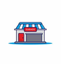 red blue garage building vector image