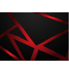 red line triangle on dark grey hexagon mesh vector image