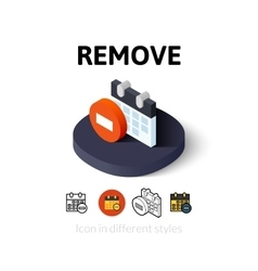 Remove icon in different style vector image