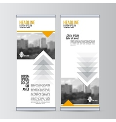 Roll up business banner design vertical template vector