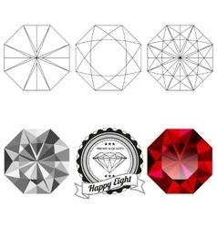Set happy eight cut jewel views vector