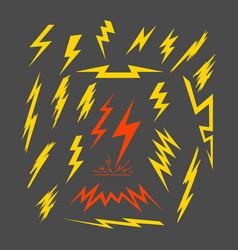 set of electric lightning vector image