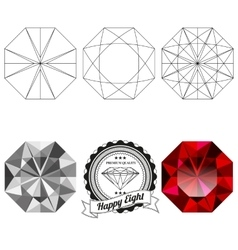 Set of happy eight cut jewel views vector image