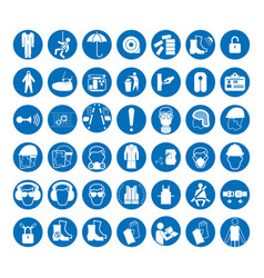 Set of safety and health protection signs vector