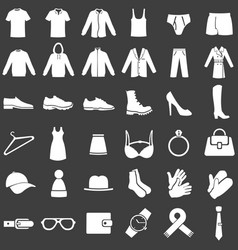 Set white clothes icons vector
