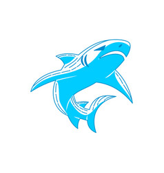 Shark emblem logo outline isolated template vector