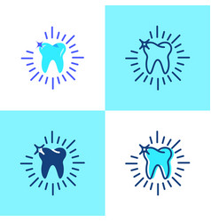 Shining tooth icon set in flat and line style vector