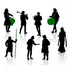 Silhouettes of people in medie vector