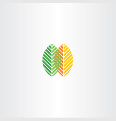 Spring and autumn leaves icon logo vector