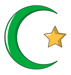 starcrescent symbol of islam icon cartoon style vector image