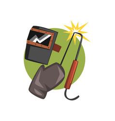Symbols of the welder profession welding machine vector