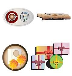 Table decoration top view set 4 vector