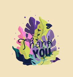 thank you card spring greeting card with plants vector image