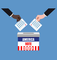 The us presidential election 2020 hands putting vector
