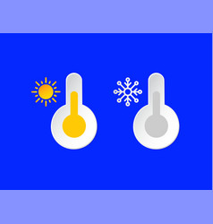 thermometer temperature emblems set sunny smowy vector image