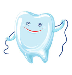 tooth floss icon cartoon style vector image