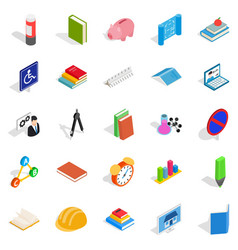 train your mind icons set isometric style vector image